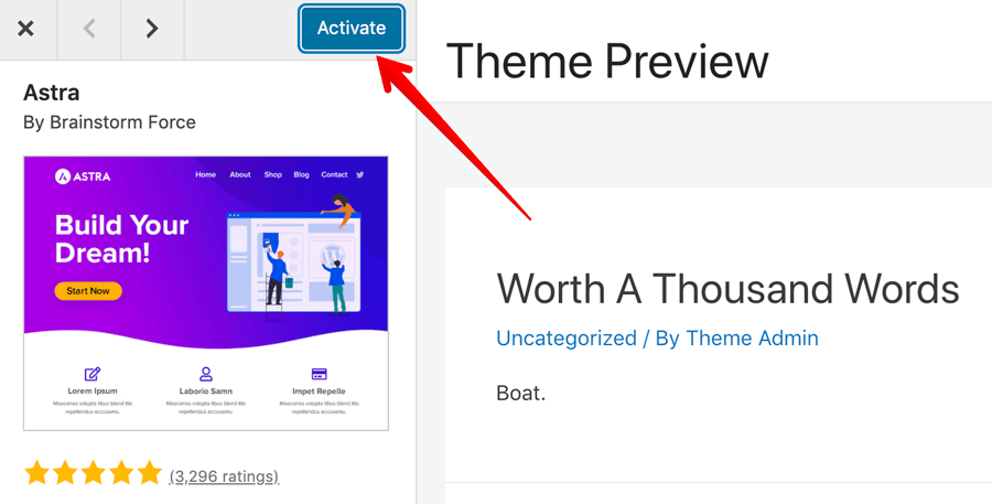 How to activate a WordPress theme