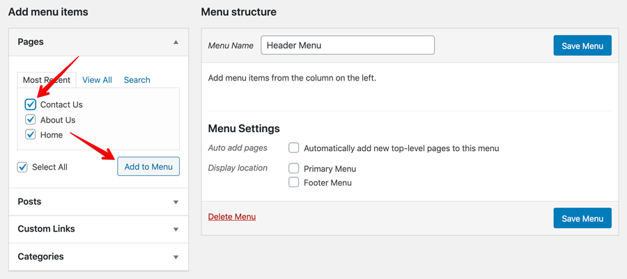 WordPress menu items demonstration