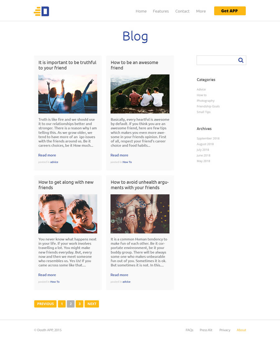 WordPress Blog Home example
