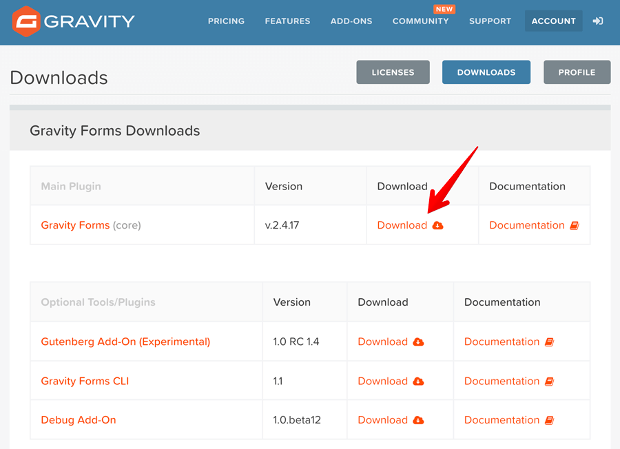 Gravity forms plugin download section