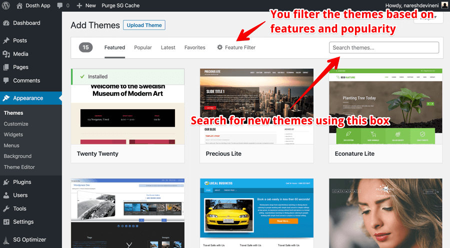 How to search for a free WordPress theme