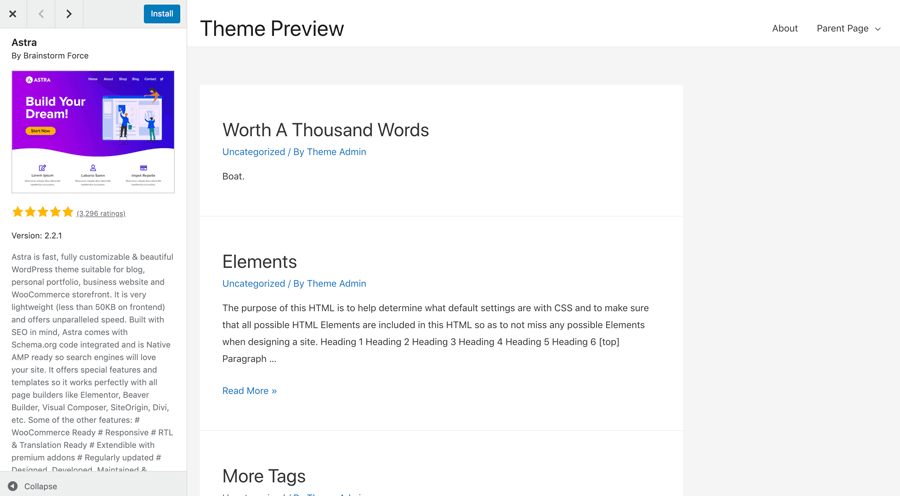 How to Preview a WordPress theme