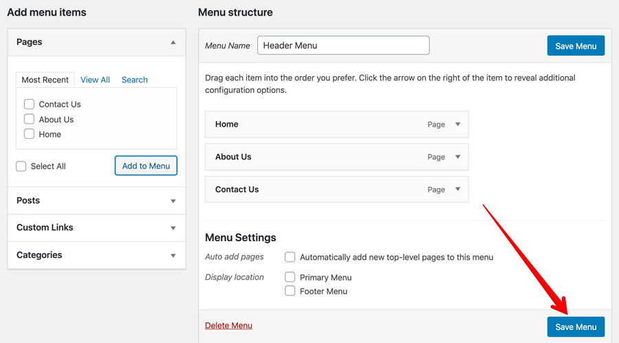 WordPress Save Menu button demonstration