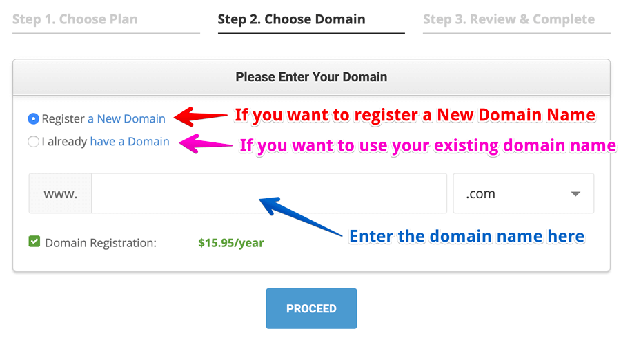 Choose a domain field from the siteground registration process