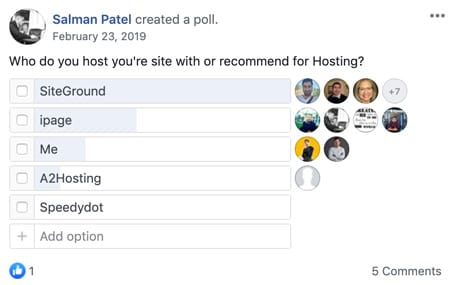 Salman Patel's poll about which hosting solution is the best and Siteground came out on top by a huge margin