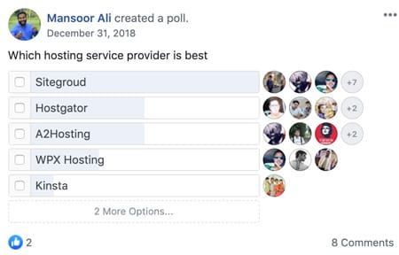 Mansoor Ali's poll about which hosting solution is the best and Siteground came out on top by a huge margin