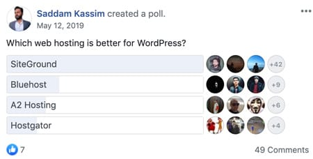 Saddam Kassim's poll about which hosting solution is the best and Siteground came out on top by a huge margin