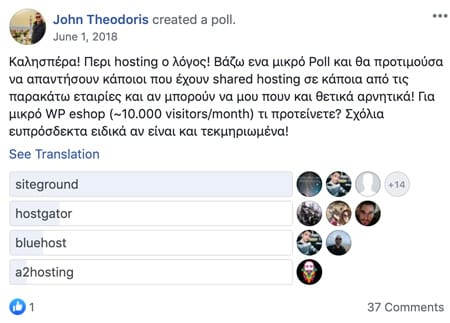 John Theodoris's poll about which hosting solution is the best and Siteground came out on top by a huge margin