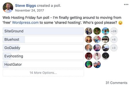 Steve's poll about which hosting solution is the best and Siteground came out on top by a huge margin