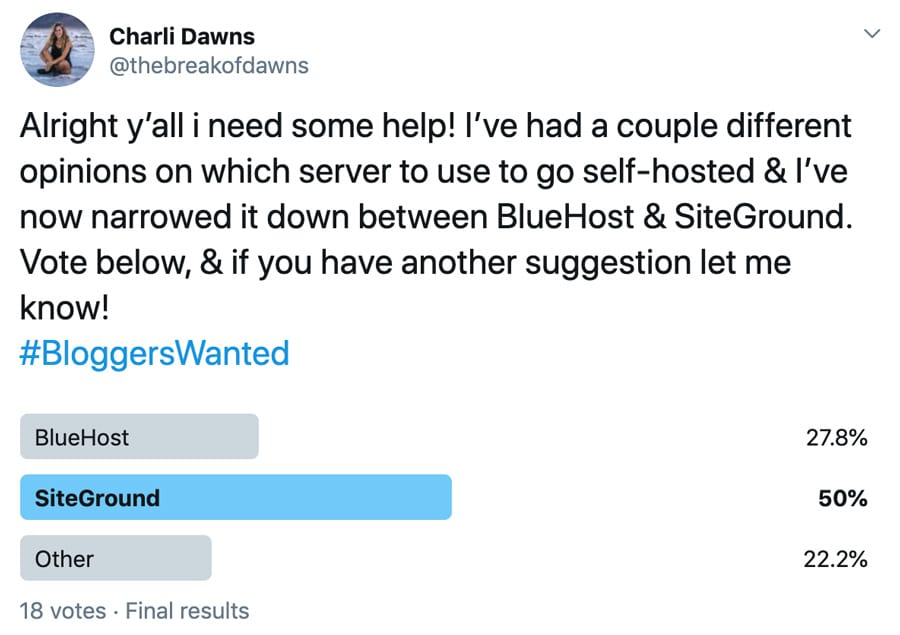 Charli's poll about which hosting solution is the best and Siteground came out on top by a huge margin