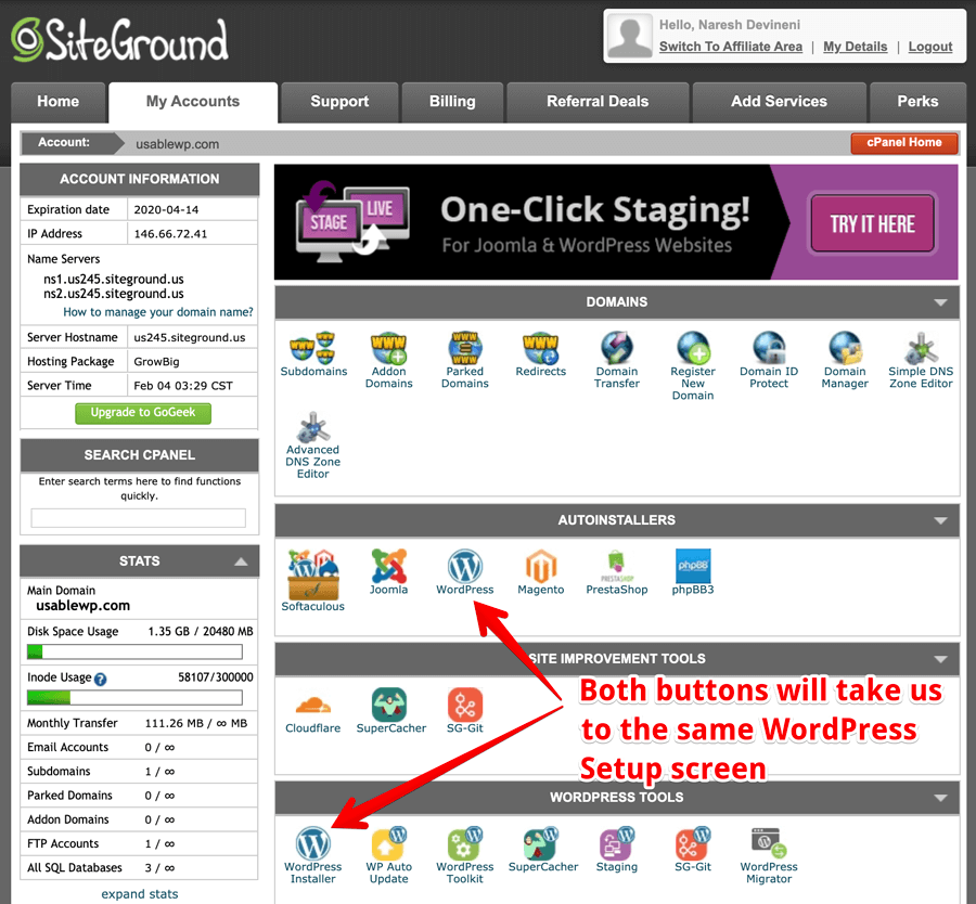 Siteground One-Click WordPress install options