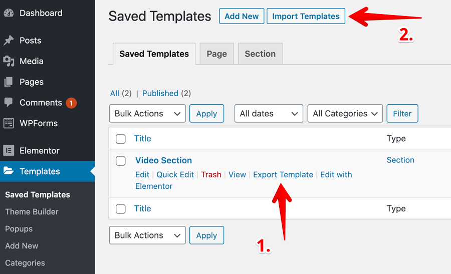 How to export and import templates