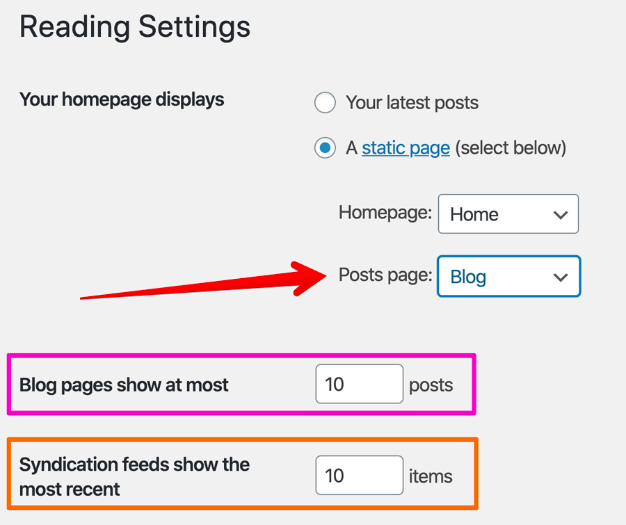 Blog posts related settings under the Readings page