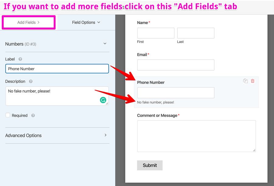 WPForms changing the field label and adding the field description