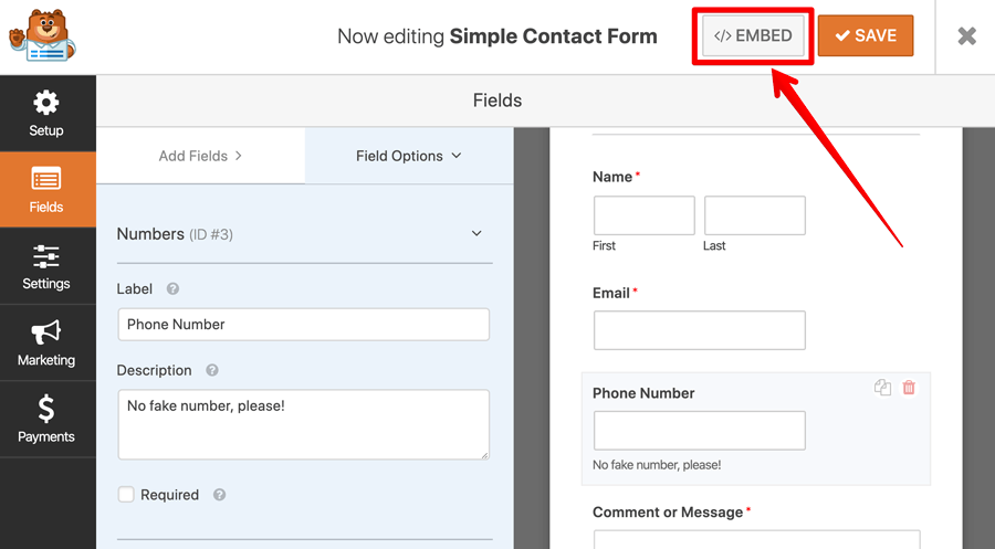 WPForms embed button