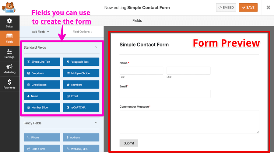 WPForms form editing layout