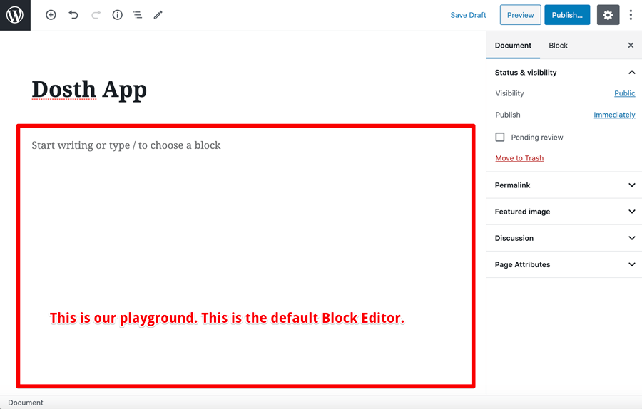 WordPress Block Editor immediately after creating the page