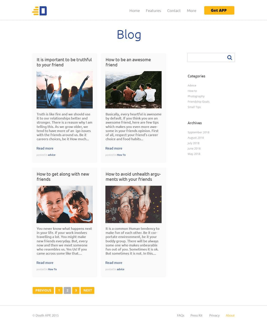 Blog Index page mockup