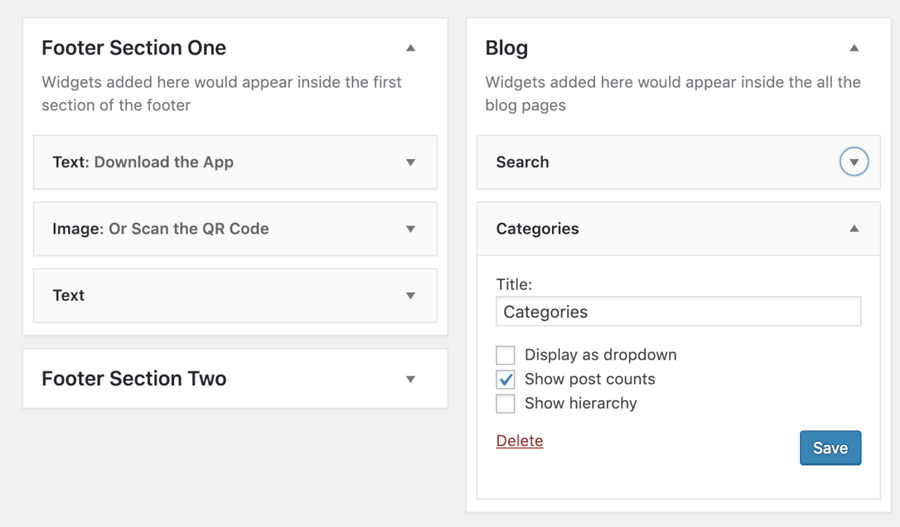 WordPress category widget options