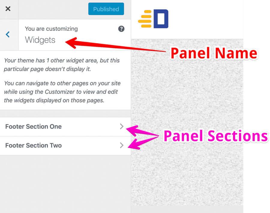 WordPress customizer panel
