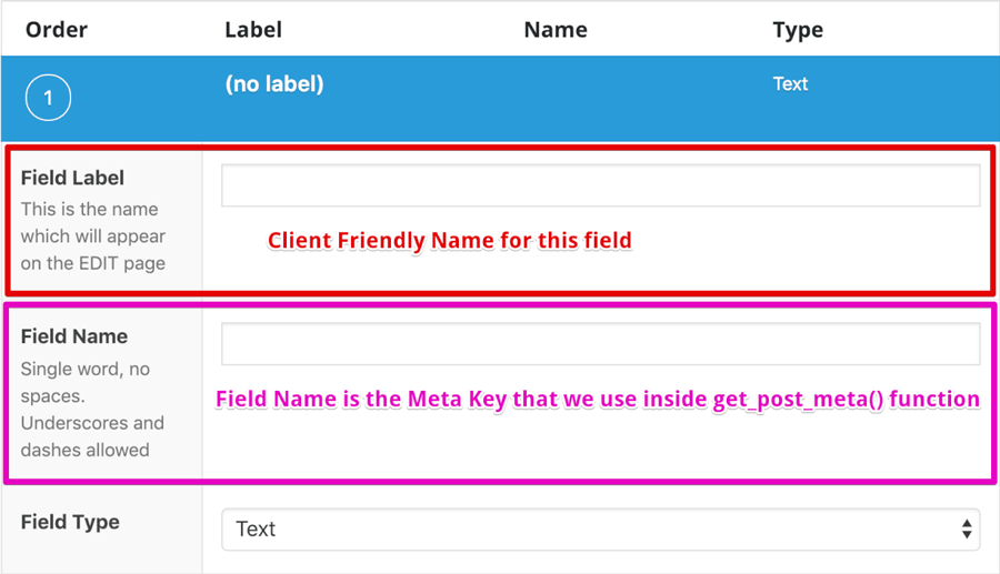 Advanced custom fields name and type