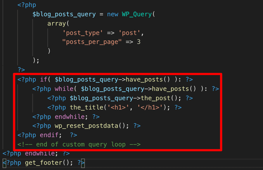Loop for custom query