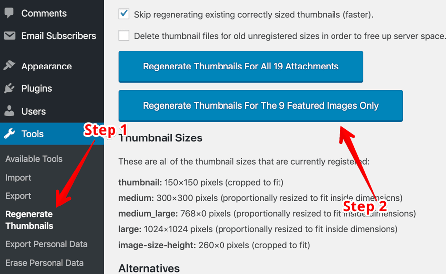 Regenerate thumbnails plugin settings