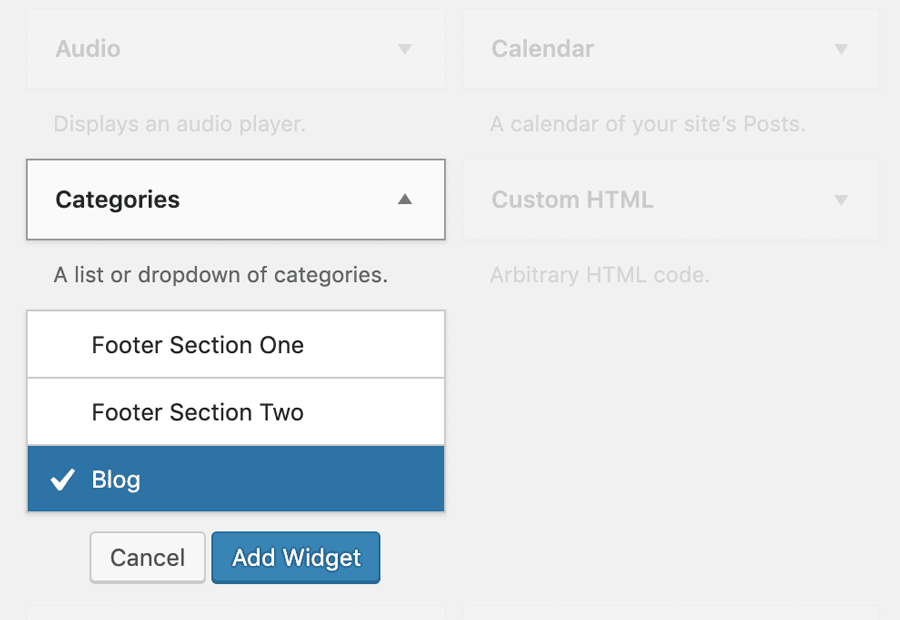 WordPress Category widget