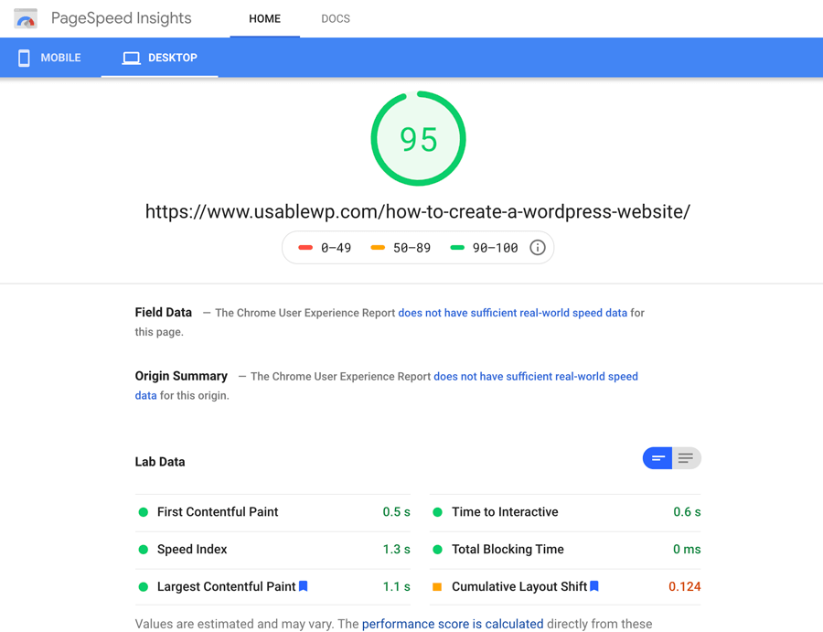 Page Speed insights report for UsableWP
