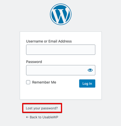 WordPress Basics - Lost your Password Link in on WordPress login page